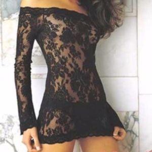 Victoria's Secret Black Lace Peekaboo Dress Small